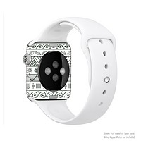 The Black & White Floral Aztec Pattern Full-Body Skin Set for the Apple Watch