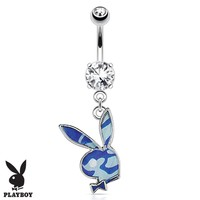 Playboy Belly Button Ring Dangle Barbell Paved Gems Blue Bunny 14G Steel 316L Body Jewelry