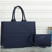 Dior embossed logo handbag shoulder bag shopping bag two-piece set