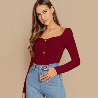 Button Detail Slim Fitted Rib Knit Tee Women T-shirt Deep V Neck Ladies Tops & Tees Long Sleeve Crop Top