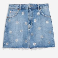 Diamante Polka Dot Denim Jacket and Skirt Set - New In Fashion - New In