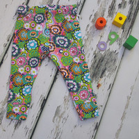Baby leggings, baby clothes, toddler leggings, baby girls leggings, girls' clothing, flower, floral, trousers, girls pants, baby pants