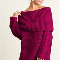 Umgee chunky off shoulder cowl neck sweater berry