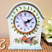 Mantel Clock Birds Robins Quartz Hand Painted Porcelain Ceramic Pottery blm