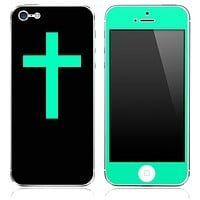 Trendy Green and Black Vector Simple Cross Skin for the iPhone 3gs, 4/4s, 5, 5s or 5c