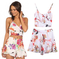 White Floral Print Spaghetti Strap Crop Top With Paired Shorts
