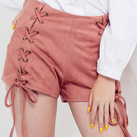 High Waisted Hotpants with Zipper and Cross Strap Design