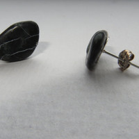 Black Beach stone  Jewelry Silver Stud Earrings for Men dudes and Women Sea treasury from the Dutch sea  Jewelry Northsea Netherlands Studs