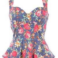 Floral Print Sweetheart Top