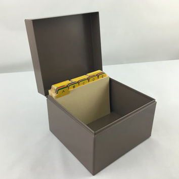 Small Square Industrial Steel Receipt File Box Lit-Ning Desk File Box with Alphabetical Dividers Index Card File Box Metal Recipe Box USA