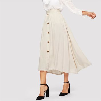 Lady Beige Button Up Flared Maxi Skirts Womens Casual Solid Mid Waist A Line Long Skirt OL  Elegant Skirt