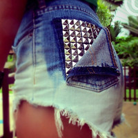 Vintage High Waisted Denim Shorts Studded Ombre Cut Off Shorts