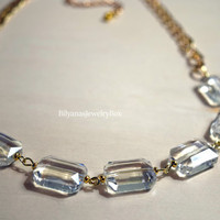 Clear Necklace - Crystal Clear Statement Necklace - Rectangular Beaded Necklace - Chunky Chain Gold Necklace