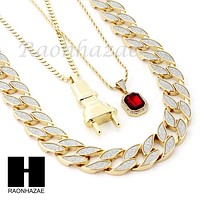 "RUBY PLUG PENDANT 24"" 30"" CUBAN LINK ROPE CHAIN NECKLACE SET D023"