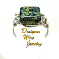 DWJ0438 Lovely Night Sky Picasso Czech Art Glass Silver Wire Wrapped Ring All Sizes