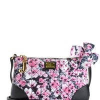 Black/Pink Floral Malibu Nylon Flat Crossbody by Juicy Couture, O/S