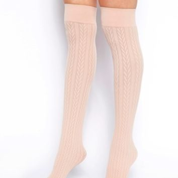 American Apparel Over the Knee Cable Knit Socks