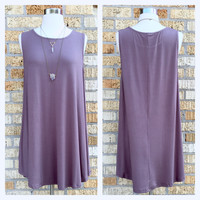 Potato Sack Dress in Dusty Purple