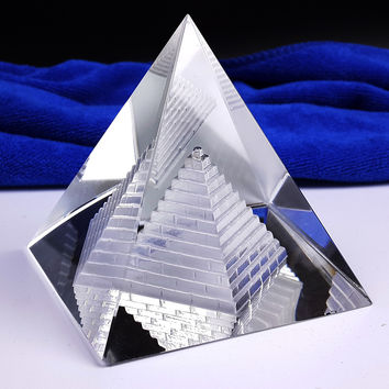 Free shipping Fengshui Hollow Pyramid Healing Crystal Wicca crafts Desk Paperweight