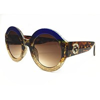 Gucci 0084 0084S 003 Fuchsia Havana Brown Glitter Sunglasses