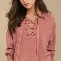 Project Social T Slave to Love Rusty Rose Lace-Up Sweater