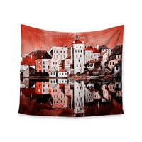 """Suzanne Carter """"Red Sky At Night"""" Red White Wall Tapestry"""