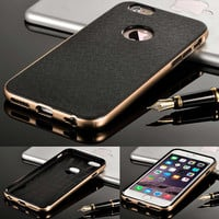 Luxury  2in1 Metal Chrome Frame + Hard Back Case For Iphone 5 5S 5G / 6 6S 4.7 / 6 6S Plus 5.5inch PC & TPU Hybird Armor Cover