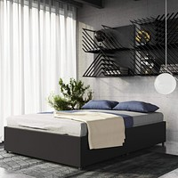 DHP Maven Platform Bed with Upholstered Faux Leather and Wooden Slat Support and Under Bed Storage, Queen Size - Black Bed with Storage Black Faux Leather