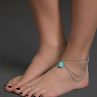 Gemstone Teardrop Ankle Bracelet