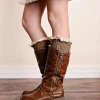 Vintage Lace Trim Cable Knit Boot Cuffs Mocha Ankle Socks
