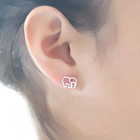 Super Cute 925 Sterling Silver Elephant Studs