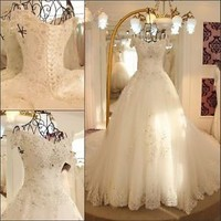 White or Ivory Ball Gown Corset Wedding Dress, Bridal Gown, Custom Made, NEW