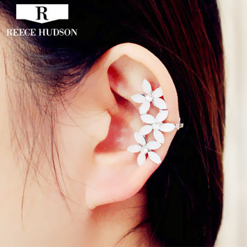 Hot New Classic Fashion Ear Cuff Personality Resin Flower Gorgeous Attractive gold plated Clip Earrings For Women Free Shipping