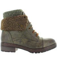 Coolway Bring - Khaki Sweater-Top Snap Cuff Combat Bootie