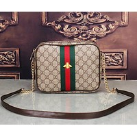 Gucci Classic Bee Embroidery Shoulder Bag Fashion Print Red and Green Striped Crossbody Bag