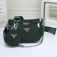 Prada Classic Canvas Solid Color Two-piece Mahjong Bag Shoulder Bag Messenger Bag Round Small Wallet