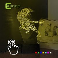 CNHIDEE Holiday LED Lights for Novelty Tiger shaped Seven Colors Home Lighting 3D Table Lamp USB NightLight Luces Navidad