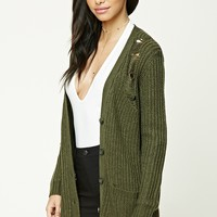Distressed Button-Down Cardigan