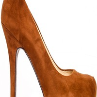 BROWN FAUX SUEDE ROUNDED TOE CAUSAL HIGH HEEL