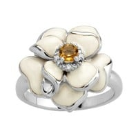 Sterling Silver Citrine with White Enamel Diamond-Accent Women's Ring