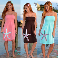 fun and colorful mint aqua coral white beach coverup nautical clothing. Cute starfish beach dress