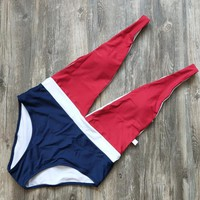 Sexy Beach Women Deep V Collar Color Matching One Piece Bikini Swimsuit Bathing(2-Color) Red Blue