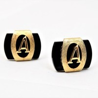 Swank Monogrammed A Cufflinks, Black and Gold, Vintage Men's Accessories