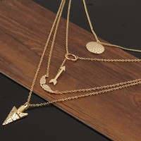 Golden Arrow Multi-Layer Necklace