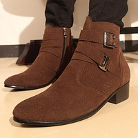 New Genuine Nubuck Leather Men Winter Boots Fashion Pointy Ankle Boots Black Brown Male Casual Martin Boots Shoes Botas Hombre 8