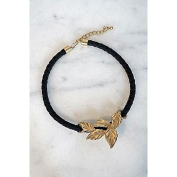 Vintage Brass Leaves Choker Necklace