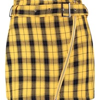 Woven Belted Zip Front Check Mini Skirt | Boohoo