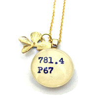 Gold Orchid 22K Library Necklace Dewey Decimal Charm by The Written Nerd