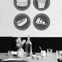 ik1453 Wall Decal Sticker fast food hamburger potato pizza eatery fast food