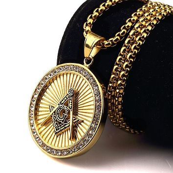 Round Chain Fully Iced-Out Freemason Necklace